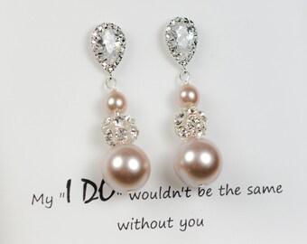 Crystal Bridal Earrings,Wedding earrings,Long Bridal earrings,Bridesmaids,champagne Pearl Wedding Jewelry,Long Crystal Stud Earrings , blush