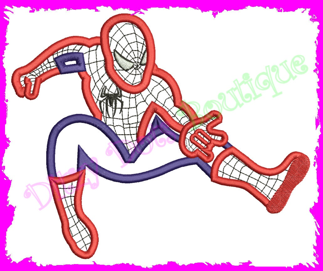 spiderman applique embroidery design. Black Bedroom Furniture Sets. Home Design Ideas