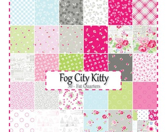 Fog City Kitty Fat Quarter Bundles, 30 Fat Quarters from Pam Kitty Morning by LakeHouse Fabrics