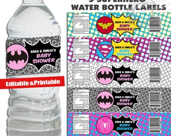 INSTANT DOWNLOAD Personalized Superhero Baby Shower Superhero Water Bottle Labels Super hero Water Bottle Labels Super hero baby shower