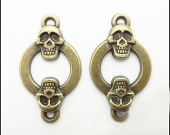 10pcs 15x25mm Antique Bronze Skull Charms Connector