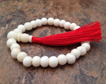 Tibetan White Bone Beads Stretch Wrist Mala Bracelet for Meditation and Yoga