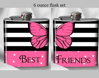SALE! Best Friends Flask Set - Black Striped Butterfly - Birthday Gift