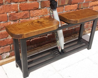 Hallway bench with double seat and umbrella stand rustic industrial
