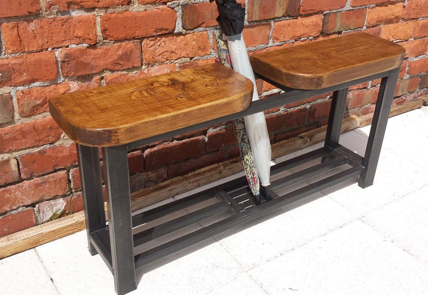 Hallway Bench With Double Seat And Umbrella Stand Rustic