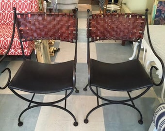 SHAVER HOWARD Pair of Iron and Woven Leather Chairs