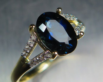 1.85cts Natural Indicolite blue tourmaline oval cut 10K yellow gold engagement ring all sizes
