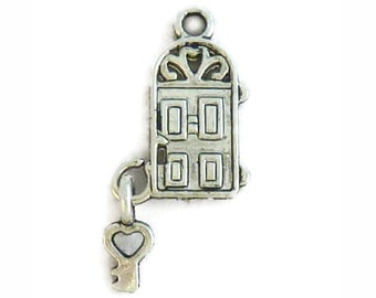 12 pcs - Silver Door of a Home Charm 18x12mm - Ships from Texas by TIJC - SP0517