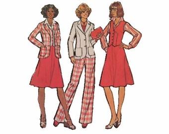 Simplicity 7376, Jacket, Pants, Vest & Skirt, Misses Size 12, Bust 34, 1970s Vintage Fashion Sewing Pattern