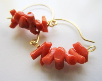Hoop Earrings, Coral Hoop Earrings, Hammered Gold Hoops, Italian Coral, Gold and Coral Jewelry, Branch Coral
