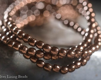 NEW! Tiny Bronze Dots - Czech Glass Bead (50) - 3mm - Druk