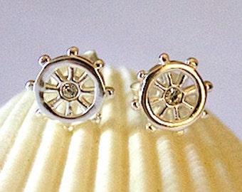 925 Sterling Silver Nautical Ship Wheel Helm Ear Studs Earrings - ES6160