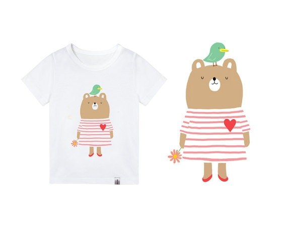 Bear t shirts for kids graphic tee cute baby t shirt 3t 7t for Graphic t shirts for kids