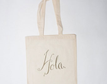 Hola Bag (10) (Gold), Wedding Welcome Bag (10), Canvas Tote, Wedding Guest Bag, Wedding Gift Bag, Wedding Hotel Bag, Wedding Favor Bag