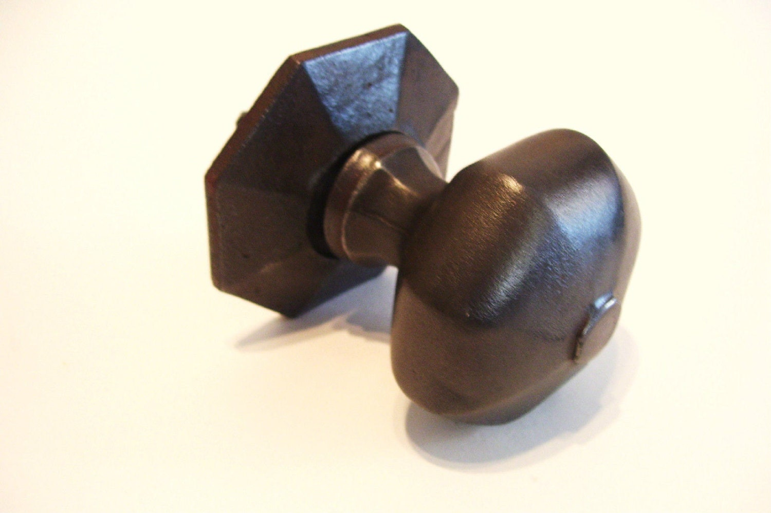 Victorian Cast Iron Door Knob And Backplate Octagonal All