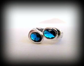 Blue topaz ring-platinum plated ring-semi precious topaz ring-gothic ring-thumb ring