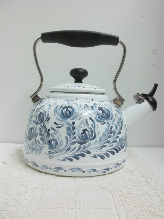 White enamel teakettle new chantal kettle hand painted scandinavian design norwegian - Chantal teapots ...