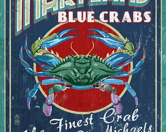 Blue Crabs Vintage Sign - St. Michaels, Maryland (Art Prints available in multiple sizes)