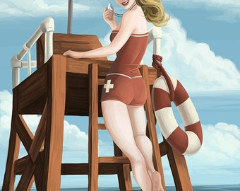 Jacksonville Beach, Florida - Lifeguard Pinup Girl (Art Prints available in multiple sizes)