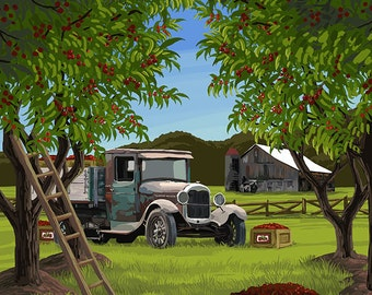 Cherry Orchard Harvest (Art Prints available in multiple sizes)