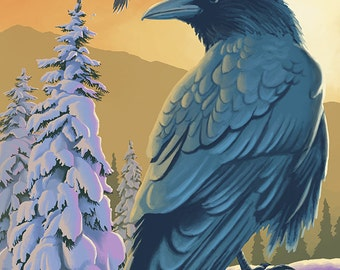Ravens and Sunset (Art Prints available in multiple sizes)