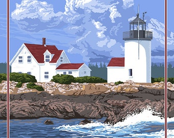 Kennebunkport, Maine - Goat Island Lighthouse (Art Prints available in multiple sizes)