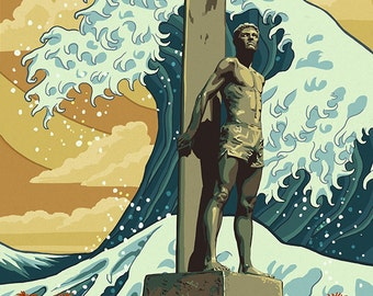 Santa Cruz, California - Surfer Statue (Art Prints available in multiple sizes)