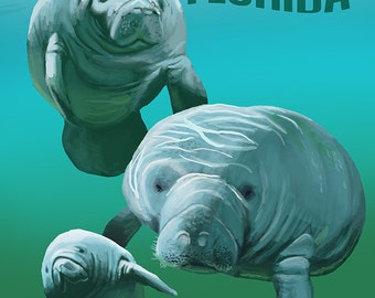 Tampa, Florida - Manatees (Art Prints available in multiple sizes)