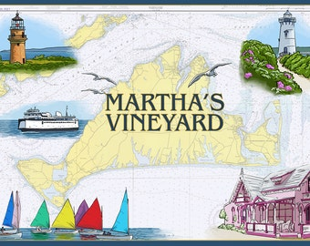 Martha's Vineyard - Nautical Chart (Art Prints available in multiple sizes)
