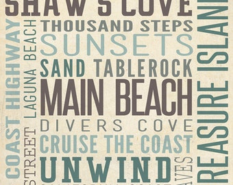 Crystal Cove, California - Typography (Art Prints available in multiple sizes)