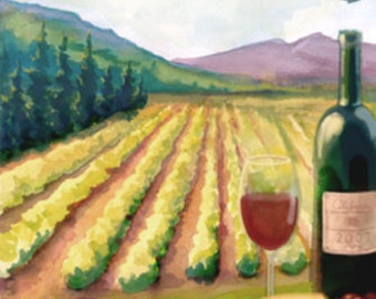 Wine Watercolor (Art Prints available in multiple sizes)