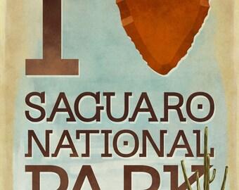 Saguaro National Park, Arizona - I Heart Saguaro (Art Prints available in multiple sizes)