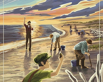 Gearhart, Oregon - Clam Diggers (Art Prints available in multiple sizes)