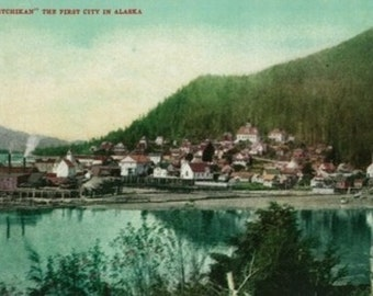 Ketchikan, Alaska Town View - First City in Alaska (Art Prints available in multiple sizes)