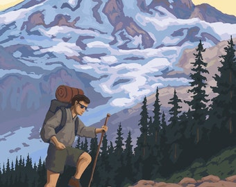Adirondack Mountains, New York - Hiker and Mountain (Art Prints available in multiple sizes)