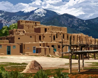 Taos Pueblo, New Mexico - Ruins Scene (Art Prints available in multiple sizes)