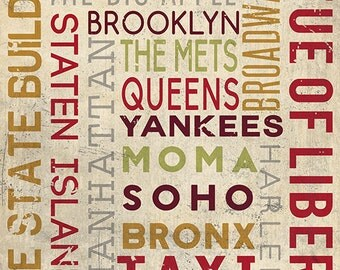 New York City, NY - Typography (Art Prints available in multiple sizes)