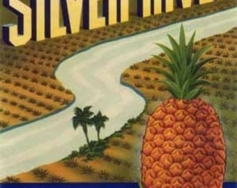 Silver River Pineapple Label (Art Prints available in multiple sizes)