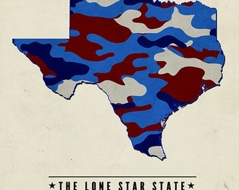 Texas - The Lone Star State - Camo State (Art Prints available in multiple sizes)