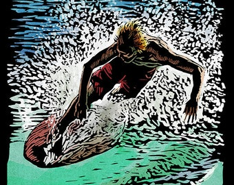 Skimboarder - Scratchboard (Art Prints available in multiple sizes)