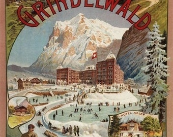 Grindelwald and Bear Hotel View (Art Prints available in multiple sizes)