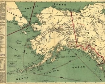 Alaska State Panoramic Map (Art Prints available in multiple sizes)