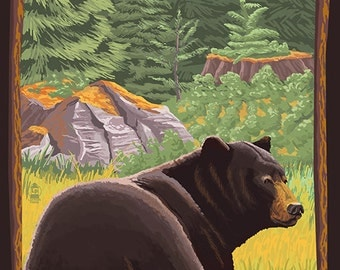 Couer D'Alene, Idaho - Black Bear in Forest (Art Prints available in multiple sizes)