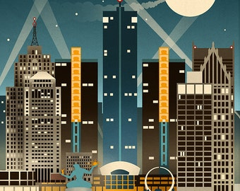 Detroit, Michigan - Retro Skyline (Art Prints available in multiple sizes)