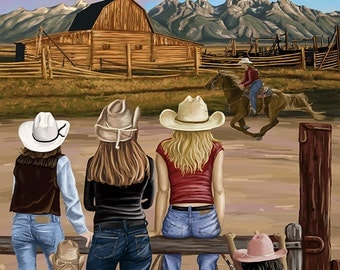 San Luis Obispo, California - Cowgirls (Art Prints available in multiple sizes)