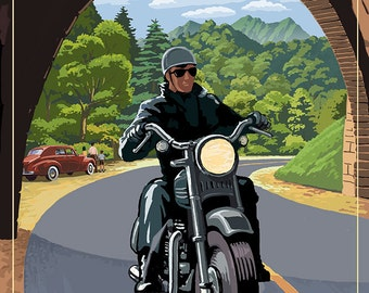 Great Smoky Mountains, North Carolina - Motorcycle and Tunnel (Art Prints available in multiple sizes)