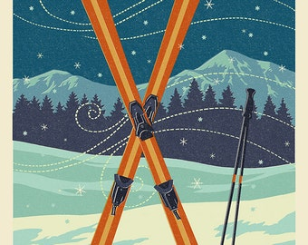 Lutsen Mountains, Minnesota - Ski Letterpress (Art Prints available in multiple sizes)