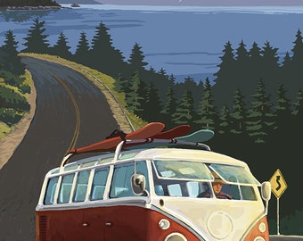 Lake Tahoe - VW Van and Lake (Art Prints available in multiple sizes)