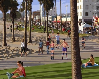 Venice Beach, California - Boardwalk Scene (Art Prints available in multiple sizes)