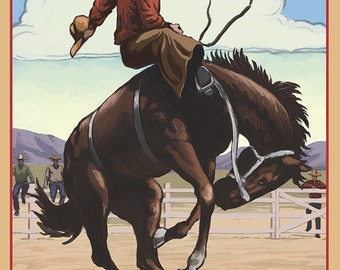 Oregon - Bucking Bronco (Art Prints available in multiple sizes)